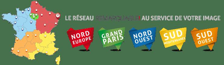 Grâce a notre réseau de techniciens spécialisés et poseurs d'adhésif nous intervenons dans toute la France pour mettre en place votre communication visuelle.