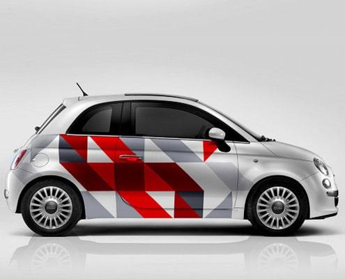 Marquage adhésif effectuée sur une Fiat 500.