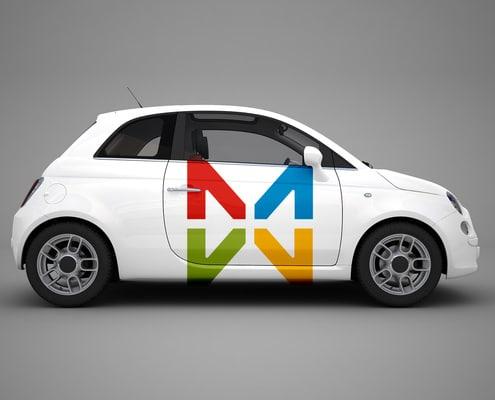 Autocollant publicitaire posé sur Fiat 500, Smart for two ou autre voiture.
