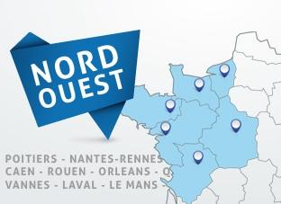 Nos poseurs d'adhésif sont situés à Nantes, Rennes, Caen, Rouen, Poitiers et Orléans.